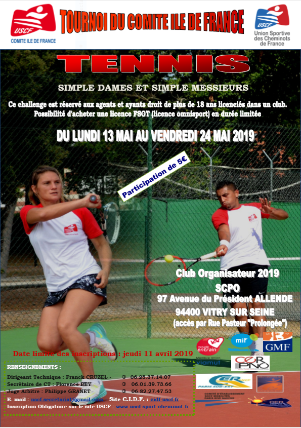 TOURNOI DE TENNIS CIDF 2019